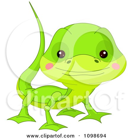 Clipart Cute Green Lizard Looking Up - Royalty Free Vector Illustration by Pushkin