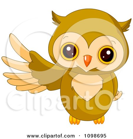 Clipart Cute Owl Presenting With A Wing - Royalty Free Vector Illustration by Pushkin