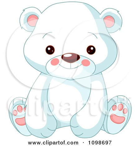 Clipart Cute Polar Bear Cub Sitting And Smiling - Royalty Free Vector Illustration by Pushkin