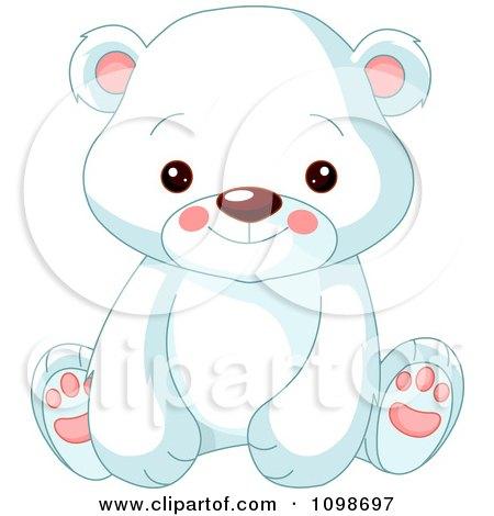 Cute Polar Bear Cub Sitting And Smiling Posters, Art Prints
