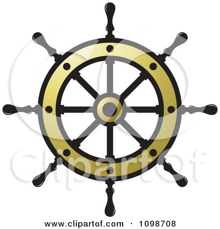 Clipart Golden Ship Helm Wheel - Royalty Free Vector Illustration by Lal Perera
