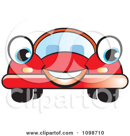 Clipart Happy Red Compact Car - Royalty Free Vector Illustration by Lal Perera