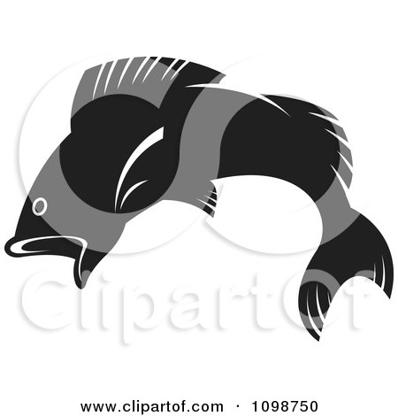 Clipart Leaping Black Fish - Royalty Free Vector Illustration by Lal Perera