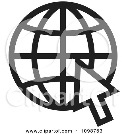 Clipart Black And White Grid Internet Globe And Computer Cursor - Royalty Free Vector Illustration by Lal Perera