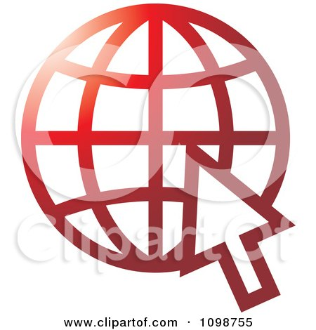 Clipart Red Grid Internet Globe And Computer Cursor - Royalty Free Vector Illustration by Lal Perera