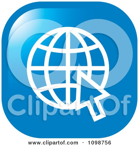 Clipart Blue Grid Internet Globe And Computer Cursor Icon Button - Royalty Free Vector Illustration by Lal Perera