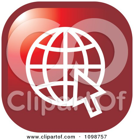 Clipart Red Grid Internet Globe And Computer Cursor Icon Button - Royalty Free Vector Illustration by Lal Perera
