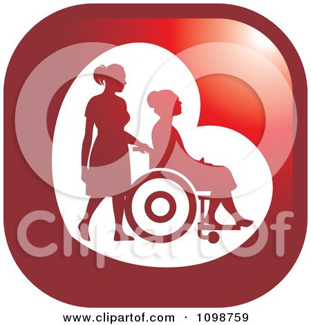 Clipart Silhouetted Nurse Helping An Elderly Woman In A Wheelchair Icon Button - Royalty Free Vector Illustration by Lal Perera