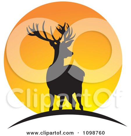 Clipart Two Silhouetted Deer Over An Orange Sun - Royalty Free Vector Illustration by Lal Perera