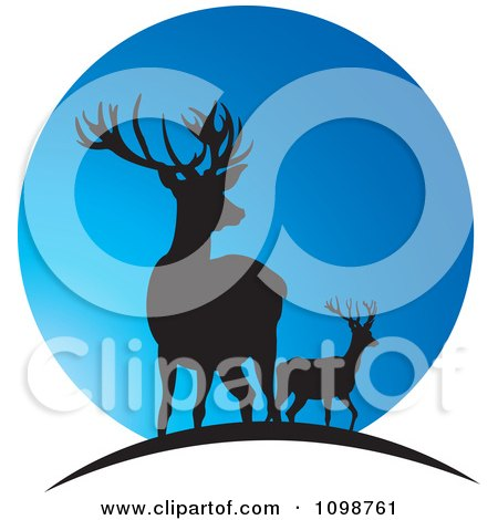Clipart Two Silhouetted Deer Over A Blue Moon - Royalty Free Vector Illustration by Lal Perera