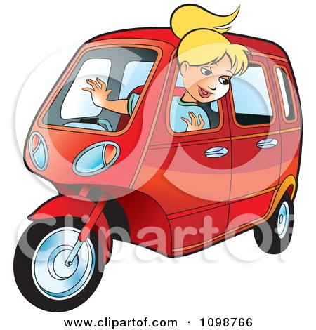 Happy Blond Woman Driving A Tuk Tuk Posters, Art Prints