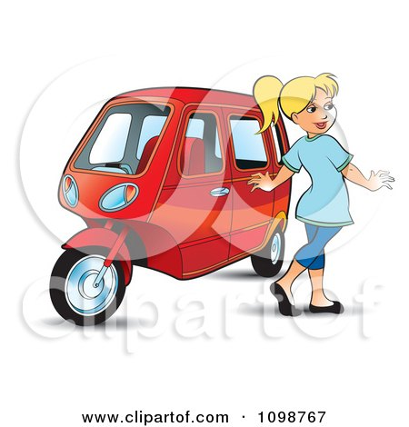 Clipart Happy Blond Woman Walking By A Tuk Tuk - Royalty Free Vector Illustration by Lal Perera