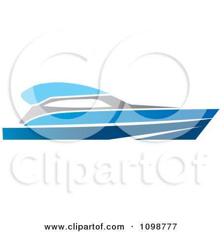 Clipart Blue Pleasure Boat - Royalty Free Vector Illustration by Lal Perera