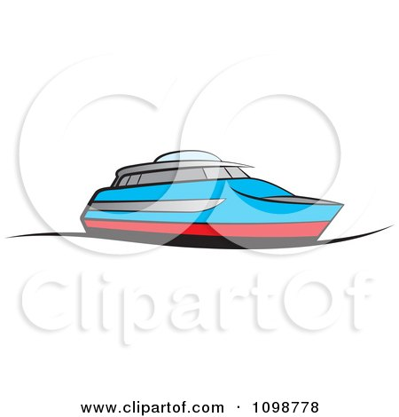Clipart Blue And Red Pleasure Boat - Royalty Free Vector Illustration by Lal Perera