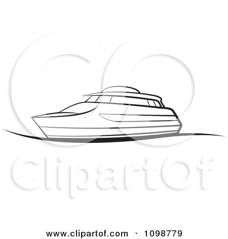 Clipart Outlined Pleasure Boat - Royalty Free Vector Illustration by Lal Perera