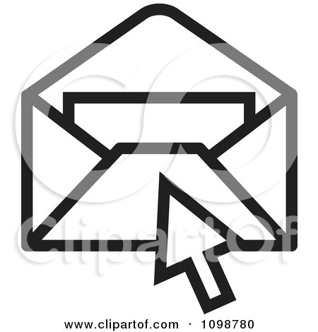 Clipart Black And White Computer Cursor Over An Email Envelope - Royalty Free Vector Illustration by Lal Perera