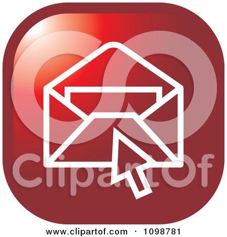 Clipart Red Computer Cursor Over An Email Envelope Icon Button - Royalty Free Vector Illustration by Lal Perera