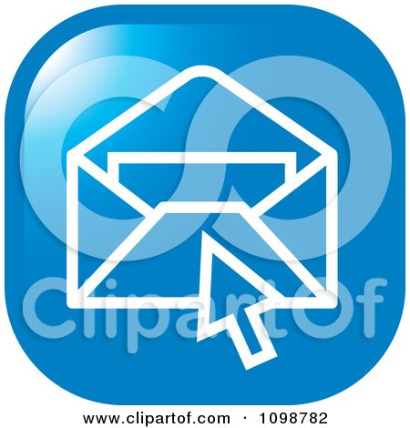 Clipart Blue Computer Cursor Over An Email Envelope Icon Button - Royalty Free Vector Illustration by Lal Perera