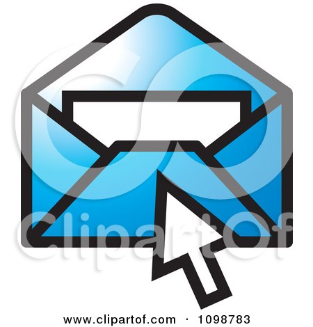 Clipart Computer Cursor Over A Blue Email Envelope - Royalty Free Vector Illustration by Lal Perera