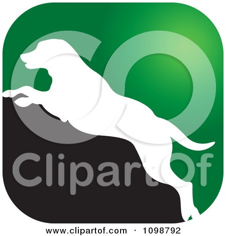 Clipart Green White And Black Leaping Dog Icon - Royalty Free Vector Illustration by Lal Perera