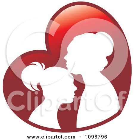 Clipart Silhouetted Mother And Daughter Over A Red Heart - Royalty Free Vector Illustration by Lal Perera