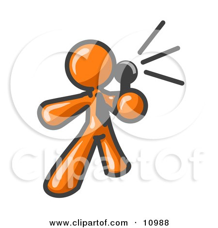 Orange Man Holding a Megaphone and Making an Announcement Clipart Illustration by Leo Blanchette