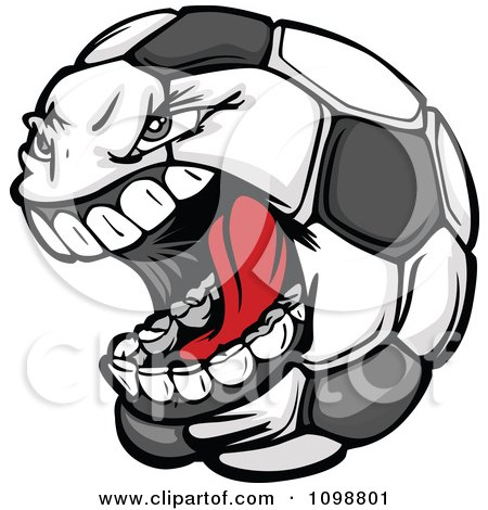 Clipart Screaming Aggressive Soccer Ball Mascot - Royalty Free Vector Illustration by Chromaco