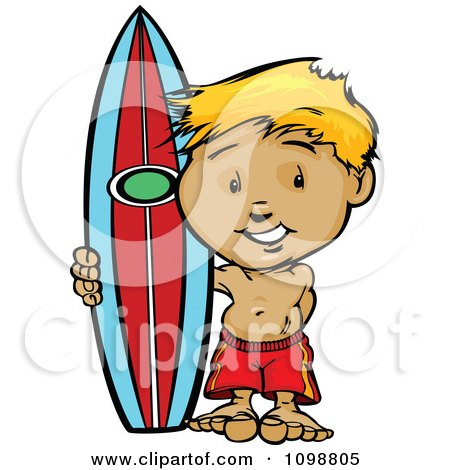 Clipart Happy Blond Surfer Boy Standing With His Board - Royalty Free Vector Illustration by Chromaco