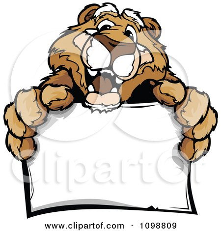 Clipart Friendly Couger Mascot Holding A Sign - Royalty Free Vector Illustration by Chromaco