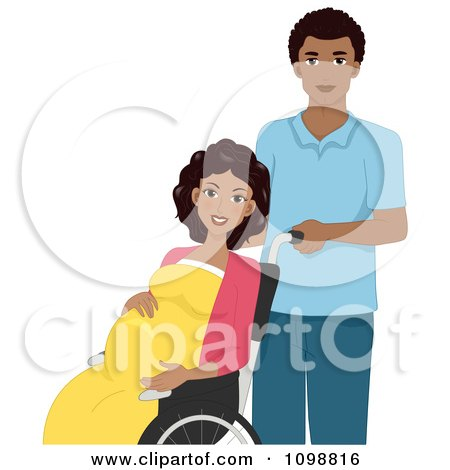 Clipart Black Husband Pushing A Laboring Pregnant Woman In A Wheelchair - Royalty Free Vector Illustration by BNP Design Studio