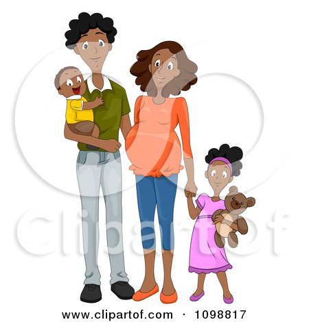 Clipart Happy Black Family With A Pregnant Mommy Holding Hands - Royalty Free Vector Illustration by BNP Design Studio