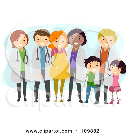 Clipart Friendly Doctors With Their Medical Patients - Royalty Free Vector Illustration by BNP Design Studio