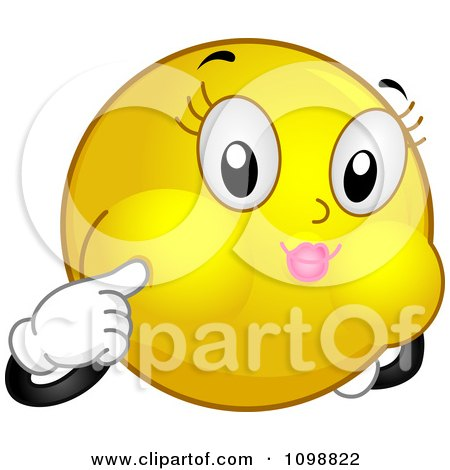 Clipart Yellow Smiley Emoticon Holding Her Breath - Royalty Free Vector Illustration by BNP Design Studio