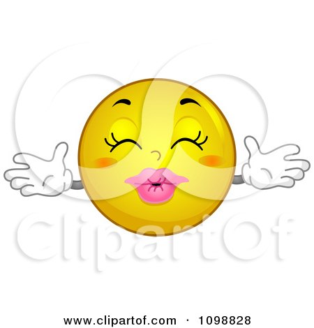 Clipart Yellow Kissing Smiley Emoticon - Royalty Free Vector Illustration by BNP Design Studio
