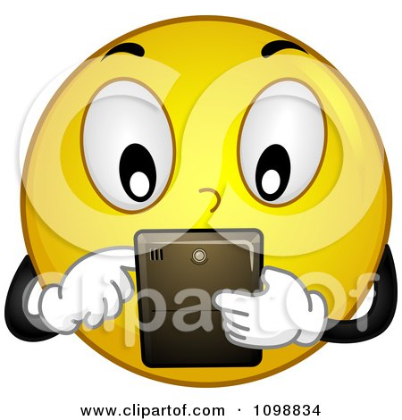 Clipart Yellow Techie Smiley Emoticon Using A Tablet - Royalty Free Vector Illustration by BNP Design Studio