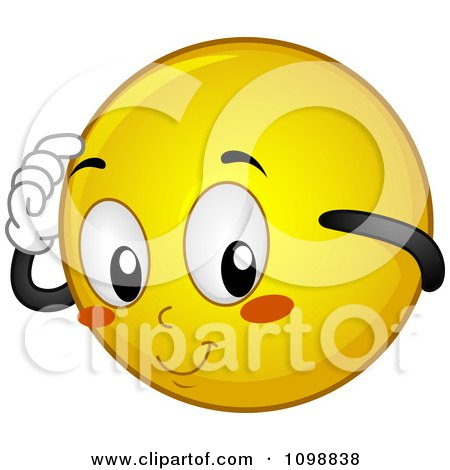 Clipart Yellow Shy Smiley Emoticon - Royalty Free Vector Illustration by BNP Design Studio