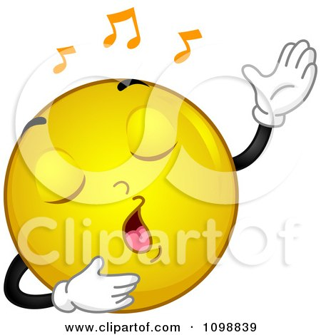 Clipart Yellow Singing Smiley Emoticon - Royalty Free Vector Illustration by BNP Design Studio