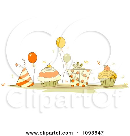 Clipart Orange And Beige Party Hats Balloons Cupcakes And A Gift Box - Royalty Free Vector Illustration by BNP Design Studio