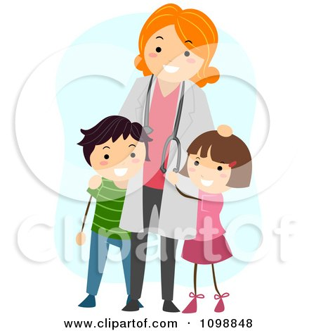 Clipart Friendly Female Pediatric Doctor Standing With Two Kids - Royalty Free Vector Illustration by BNP Design Studio