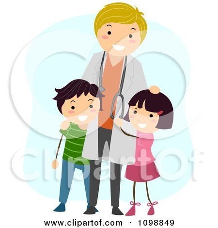 Clipart Friendly Male Pediatric Doctor Standing With Two Kids - Royalty Free Vector Illustration by BNP Design Studio