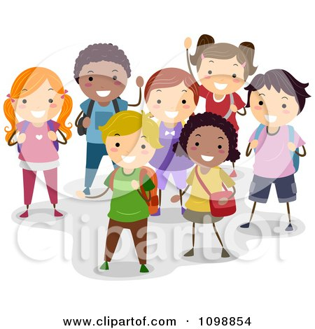 Clipart Group Of Happy Diverse School Children Smiling - Royalty Free Vector Illustration by BNP Design Studio