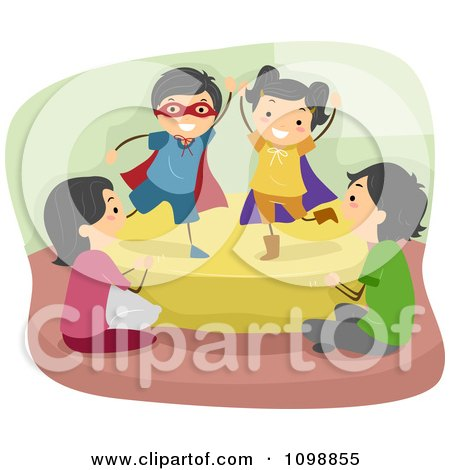 Clipart Happy Children Acting Out A Play For Their Parents - Royalty Free Vector Illustration by BNP Design Studio