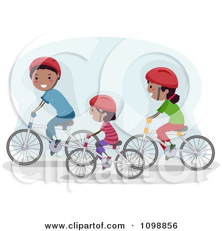 Clipart Happy Black Family Riding Bikes Together - Royalty Free Vector Illustration by BNP Design Studio