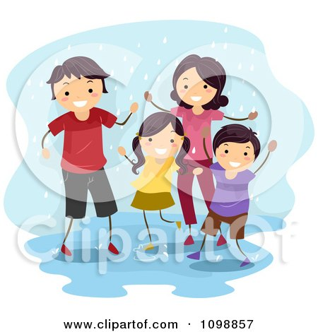 Clipart Happy Family Playing In A Rain Puddle - Royalty Free Vector Illustration by BNP Design Studio