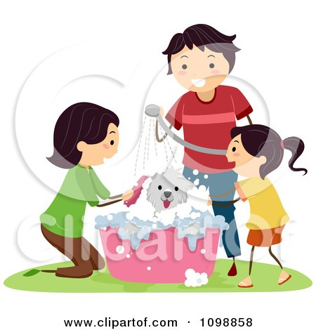 Clipart Happy Family Bathing Their Dog In A Tub - Royalty Free Vector Illustration by BNP Design Studio