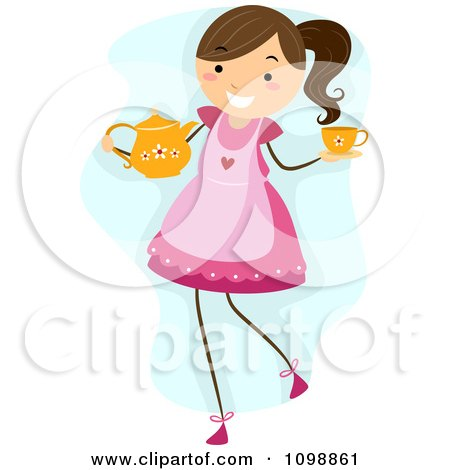 Clipart Happy Girl Wearing An Apon And Carrying A Tea Pot And Cup For A Party - Royalty Free Vector Illustration by BNP Design Studio
