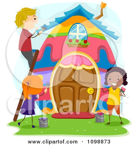 Kids Painting on Happy Diverse Kids Painting An Easter Egg House By Bnp Design Studio
