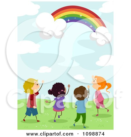 Clipart Excited Diverse Kids Looking Up At A Magical Rainbow In The Sky - Royalty Free Vector Illustration by BNP Design Studio