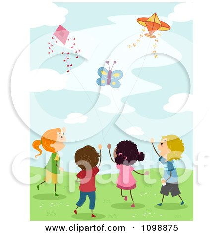 clipart happy kids flying a plane kite outside royalty