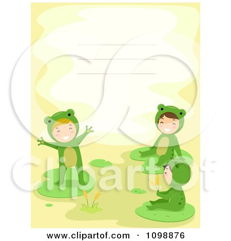 Clipart Invitation Or Background With Kids In Frog Costumes And Copyspace - Royalty Free Vector Illustration by BNP Design Studio